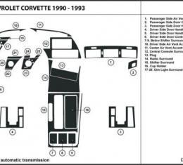 Corvette Carbon Fiber Dash Kit, Automatic, 1990-1993