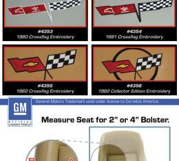 "Corvette America 1982 Chevrolet Corvette Embroidered Leather Seat Covers Leather/Vinyl Original 2"" Bolster 419921E | 82 Charcoal"