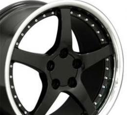 Firebird 17 X 9.5 C5 Style Deep Dish Reproduction Wheel, Black With Rivets, 1993-2002