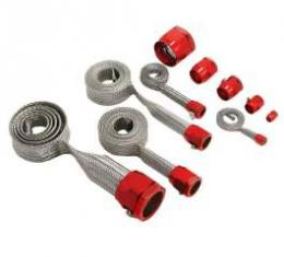 Firebird Hose Cover Kit, Stainless Steel, Braided, Universal, With Red Clamps, 1967-1969