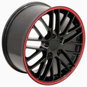 Firebird 17 X 8.5 C6 ZR1 Reproduction Wheel, Black With Red Banding, 1993-2002