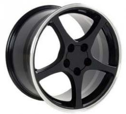 Firebird 18 X 9.5 C5 Style Reproduction Wheel, Black With Machined Lip, 1993-2002