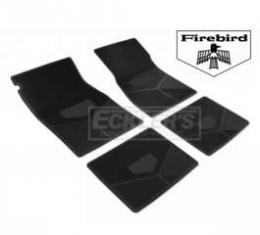 Firebird Rubber Floor Mats, With Block Firebird Script And Bird Emblem, Black, 1967-1969