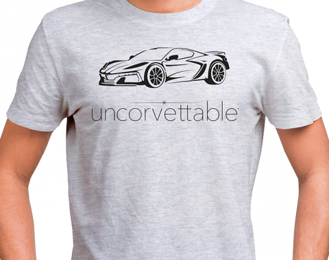 "Corvette Depot ""Uncorvettable"" Unisex Tee, with 8th Generation Corvette, Ash Gray"