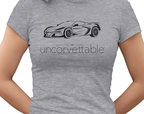 "Corvette Depot ""Uncorvettable"" Ladies Tee, with 8th Generation Corvette, Heather Gray"