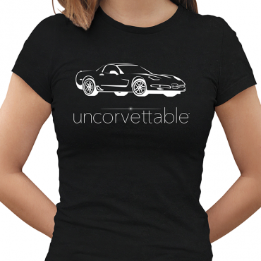 "Corvette Depot ""Uncorvettable"" Ladies Tee, with 5th Generation Corvette, Black"