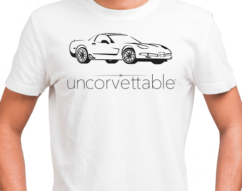 "Corvette Depot ""Uncorvettable"" Unisex Tee, with 5th Generation Corvette, White"