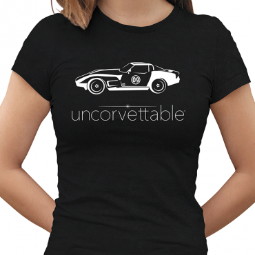 "Corvette Depot ""Uncorvettable"" Ladies Tee, with 3rd Generation Corvette, Black"