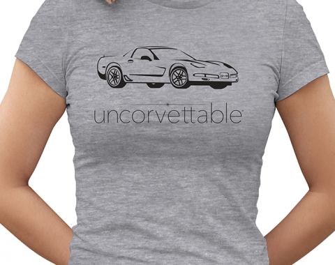 "Corvette Depot ""Uncorvettable"" Ladies Tee, with 5th Generation Corvette, Heather Gray"