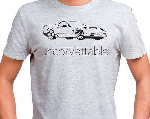 "Corvette Depot ""Uncorvettable"" Unisex Tee, with 5th Generation Corvette, Ash Gray"