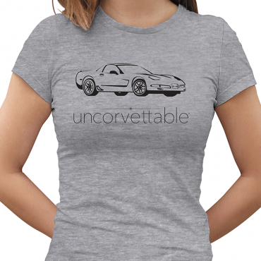"Corvette Depot ""Uncorvettable"" Ladies Tee, with 5th Generation Corvette, Heather Gray"