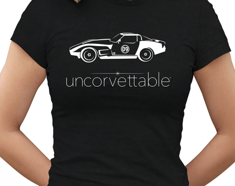 "Corvette Depot ""Uncorvettable"" Ladies Tee, with 3rd Generation Corvette, Black"