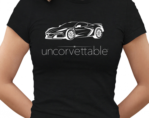 "Corvette Depot ""Uncorvettable"" Ladies Tee, with 8th Generation Corvette, Black"