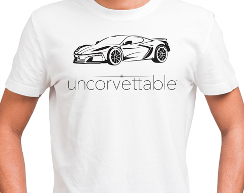 "Corvette Depot ""Uncorvettable"" Unisex Tee, with 8th Generation Corvette, White"