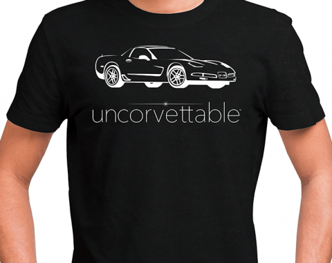 "Corvette Depot ""Uncorvettable"" Unisex Tee, with 5th Generation Corvette, Black"