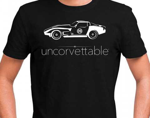 "Corvette Depot ""Uncorvettable"" Unisex Tee, with 3rd Generation Corvette, Black"