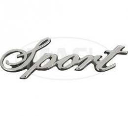 Front Fender Emblem, Sport Script, Torino, 1972-1975