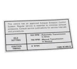 Emission Decal, 390 GT AT/MT, Montego, 1969