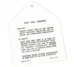Fast Idle Control Instruction Tag, Galaxie, 1960