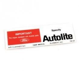 Decal - Air Cleaner - Autolite Parts - 302 - #C8AF-9600-G