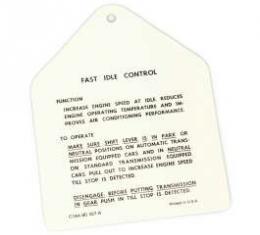 Fast Idle Control Instruction Tag, Galaxie, 1961
