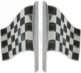 Front Fender Emblem, Racing Flag, Right, Comet, GT, Cyclone, 1963-1966