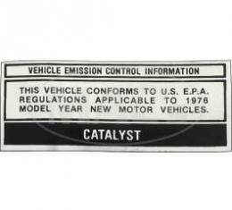 Vehicle Emission Confirm Decal, Ranchero, Torino, 1976