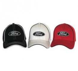 Hat, Ford Oval Logo, Flex Fit, Large/XL White