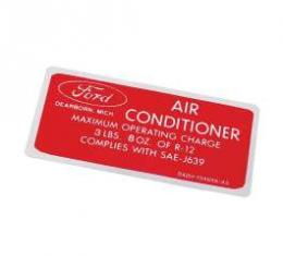 Air Conditioner Charge Decal