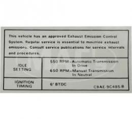 Emission Decal, 302/351-4V AT/MT, Montego, 1969-1971