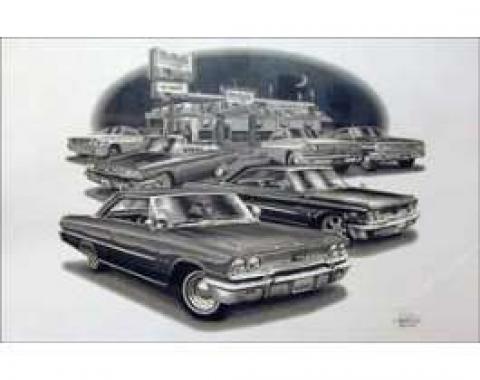 Black & White Print, 427 Cars, Galaxie, 1963-1964