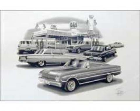Black & White Print, Gas Station, Falcon, 1961-1963