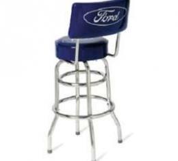 Barstool, Steel Frame, W/ Blue Vinyl Seat & Seat Back, Ford