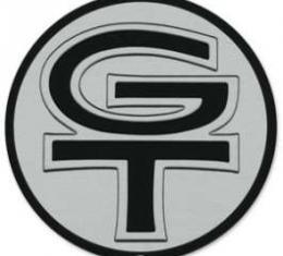 Grille Emblem Insert - GT - Chrome Trimmed Black Letters On A Silver Background