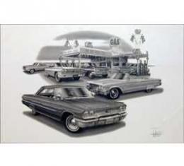 Black & White Print, Gas Station, Galaxie, 1963-1964