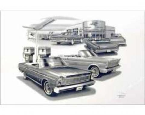 Black & White Print, Gas Station, Galaxie, 1965-1967