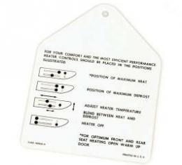 Instruction Tag, Heater, Galaxie, 1962