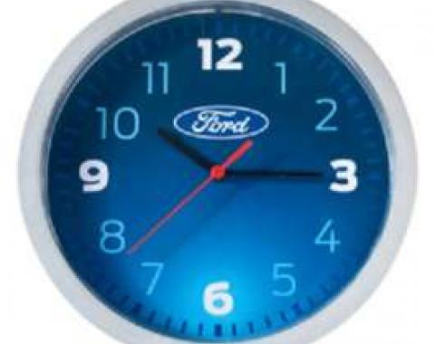 Wall Clock, Metallic, Silver & Blue, W/ Oval, Ford