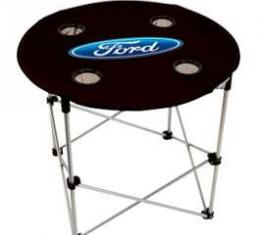 Folding Table, Black With Blue Ford Oval