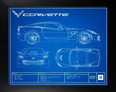 C7 Corvette Framed Blueprint