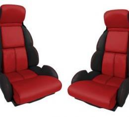 Corvette America 1993 Chevrolet Corvette Custom 100% Leather Seat Covers Standard Black & Red 44222