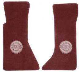 Corvette Floor Mats, 2 Piece ACC Cut Pile, with Embossed Emblem, Ruby Red (86), 1993