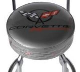 Corvette Stool, Black with Back Rest, C5R Racing Emblem