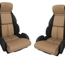 Corvette America 1993 Chevrolet Corvette Custom 100% Leather Seat Covers Standard Black & Beige 44220