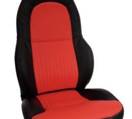 Corvette America 1997-2004 Chevrolet Corvette Custom 100% Leather Seat Covers Standard Black & Torch Red 43863
