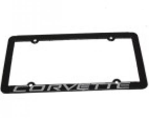 "Corvette License Plate Frame ""Corvette"" Black Frame"