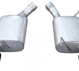 Pypes Violator Series Axle Back Muffler System 05-10 Mustang GT and Shelby Split Rear Dual Exit 2.5 in Intermediate Pipe Hardware/4 in Black Tips Incl Natural Finish 409 Stainless Steel Exhaust SFM60VB