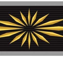 OER 1965-66, Starburst Seat Belt Buckle Emblem Set, Standard Interior, Embossed, Pair, Gold-On-Black 154661BK