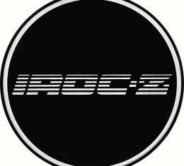 "OER 2-1/2"" Wheel Center Cap Emblem with Chrome IROC-Z Logo on a Black Background K151713BK"