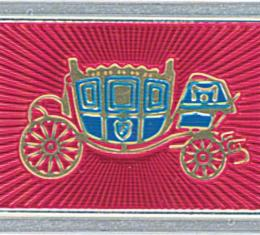 OER 1965-66 Fisher Coach Seat Belt Buckle Emblem - Deluxe Interior - Pair - Embossed CE1504